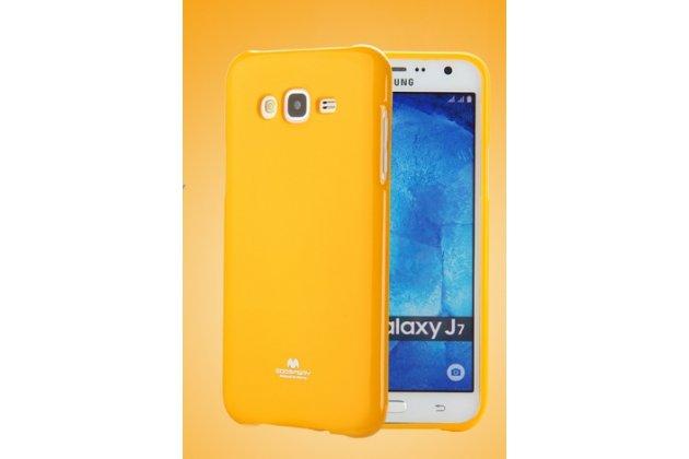 """Фирменная ультра-тонкая полимерная из мягкого качественного силикона задняя панель-чехол-накладка для Samsung Galaxy J7 2016 SM-J710x/ J710F 5.5"""" оранжевая"""