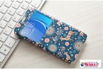 """Фирменный чехол-книжка с безумно красивым расписным рисунком Оленя в цветах на  Samsung Galaxy J7 Prime SM-G610F/DS 5.5""""  с окошком для звонков"""