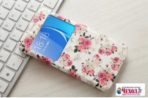 """Фирменный чехол-книжка с безумно красивым расписным рисунком """"тематика Розы на белом фоне"""" на Samsung Galaxy J7 Prime SM-G610F/DS 5.5"""" с окошком для звонков"""