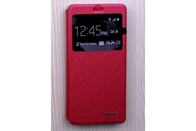 """Фирменный оригинальный чехол-книжка для Samsung Galaxy J7 Prime SM-G610F/DS 5.5"""" красный с окошком для входящих вызовов водоотталкивающий"""