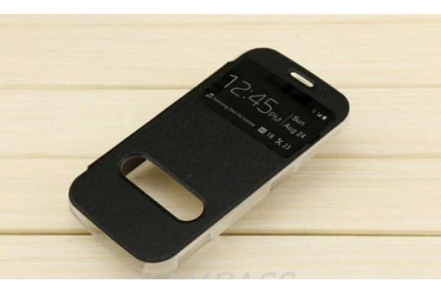 Фирменный чехол-книжка для Samsung Galaxy K Zoom SM-C115 / C1116 черный с окошком для входящих вызовов и свайпом водоотталкивающий