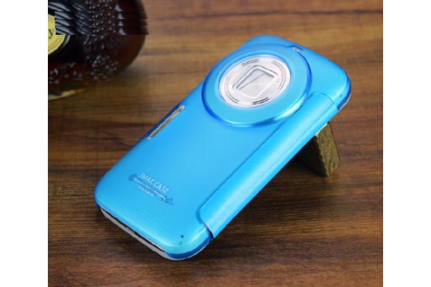 Фирменный чехол-книжка для Samsung Galaxy K Zoom SM-C115 / C1116 голубой с окошком для входящих вызовов и свайпом водоотталкивающий