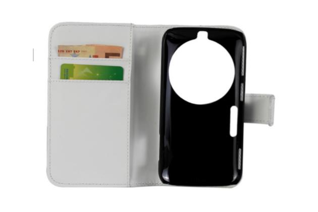 Фирменный чехол-книжка из качественной импортной кожи с подставкой застёжкой и визитницей для Samsung Galaxy K Zoom SM-C115 / C1116 белого