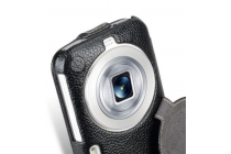 """Фирменный оригинальный вертикальный откидной чехол-флип для Samsung Galaxy K Zoom SM-C115 / C1116 черный из натуральной кожи """"Prestige"""" Италия"""