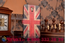 "Фирменный чехол-книжка с рисунком на тему ""Ретро Британский флаг"" на Samsung Galaxy Mega 2 SM-G750F с окошком для звонков"