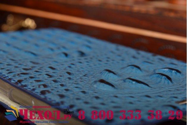 Фирменный роскошный эксклюзивный чехол с объёмным 3D изображением рельефа кожи крокодила синий для Samsung Galaxy Mega 2 / Mega 2 Duos SM-G750F/ G7508Q. Только в нашем магазине. Количество ограничено