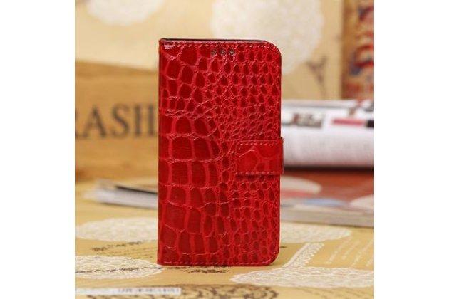 Фирменный чехол-книжка для Samsung Galaxy Mega 5.8 GT-i9150/i9152 лаковая кожа крокодила красный