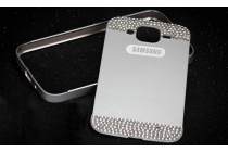Фирменная металлическая задняя панель-крышка-накладка из облегченного авиационного алюминия украшенная стразами и кристалликами для Samsung Galaxy Mega 5.8 GT-i9150 серебристая