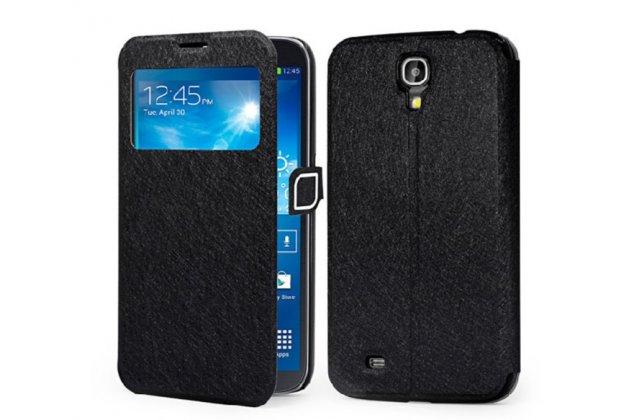Фирменный оригинальный чехол-книжка для Samsung Galaxy Mega 6.3 GT-i9200 черный водоотталкивающий с окошком для входящих вызовов