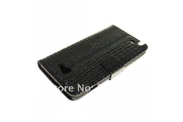 Фирменный чехол-книжка с подставкой для Samsung Galaxy Note 1 N7000/LTE GT-N7005 лаковая кожа крокодила КОРИЧНЕВЫЙ