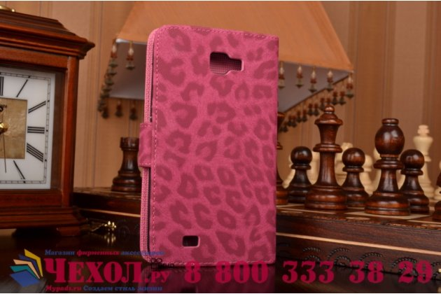 Фирменный чехол-книжка с подставкой для Samsung Galaxy Note 1 N7000/LTE GT-N7005 леопард розовый