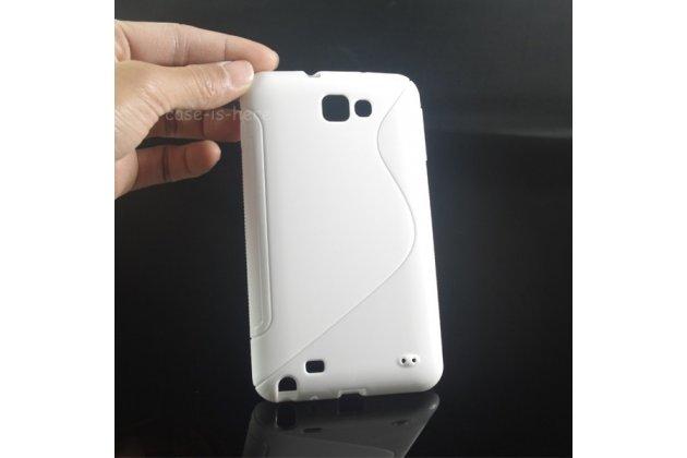 Фирменная ультра-тонкая полимерная из мягкого качественного силикона задняя панель-чехол-накладка для Samsung Galaxy Note 1 N7000/LTE GT-N7005 белая