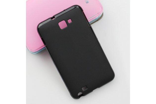 Фирменная ультра-тонкая полимерная из мягкого качественного силикона задняя панель-чехол-накладка для Samsung Galaxy Note 1 N7000/LTE GT-N7005 черная