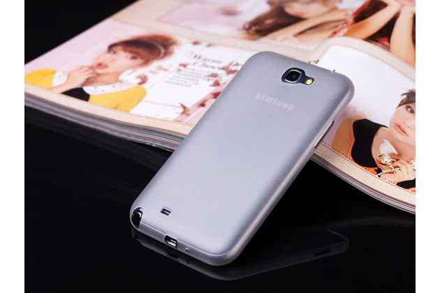 Фирменная ультра-тонкая пластиковая задняя панель-чехол-накладка для Samsung Galaxy Note 2 белая матовая