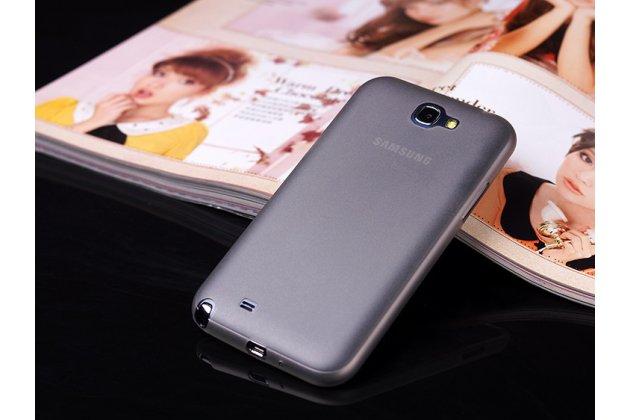Фирменная ультра-тонкая пластиковая задняя панель-чехол-накладка для Samsung Galaxy Note 2 черная