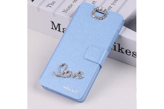 Фирменный роскошный чехол-книжка безумно красивый декорированный бусинками и кристаликами на Samsung Galaxy Note 2 GT-N7100 голубой