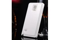 Фирменная роскошная элитная премиальная задняя панель-крышка на металлической основе обтянутая импортной кожей для Samsung Galaxy Note 3 королевский белый