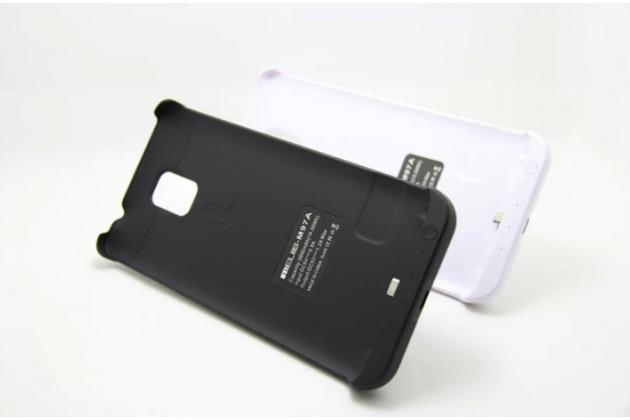 Чехол-бампер со встроенной усиленной мощной батарей-аккумулятором большой повышенной расширенной ёмкости 4800mAh для Samsung Galaxy Note 4 SM-N910C/F черный + гарантия