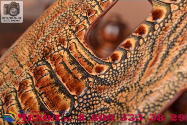 Фирменная элегантная экзотическая задняя панель-крышка с фактурной отделкой натуральной кожи крокодила кофейного цвета для Samsung Galaxy Note 4 SM-N910C/F. Только в нашем магазине. Количество ограничено.
