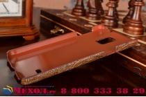 Фирменная элегантная экзотическая задняя панель-крышка с фактурной отделкой натуральной кожи крокодила кофейного цвета для Samsung Galaxy Note 4 SM-G850F/SM-N910C. Только в нашем магазине. Количество ограничено.
