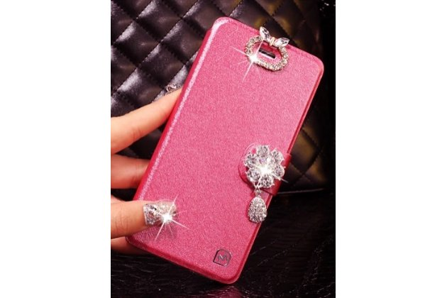 Фирменный роскошный чехол-книжка безумно красивый декорированный бусинками и кристаликами на Samsung Galaxy Note 4