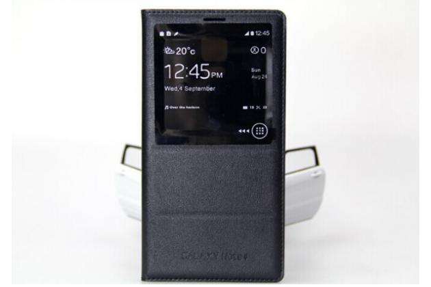 Фирменный чехол-книжка с окном для входящих вызовов для Samsung Galaxy Note 4  черный