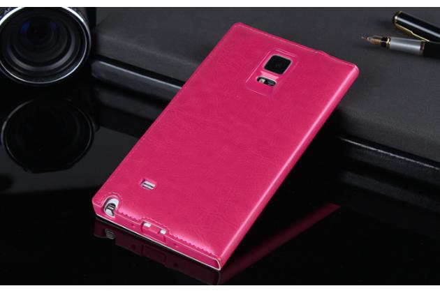 Фирменный чехол-книжка из качественной импортной кожи с окном для входящих вызовов для Samsung Galaxy Note 4 розовый