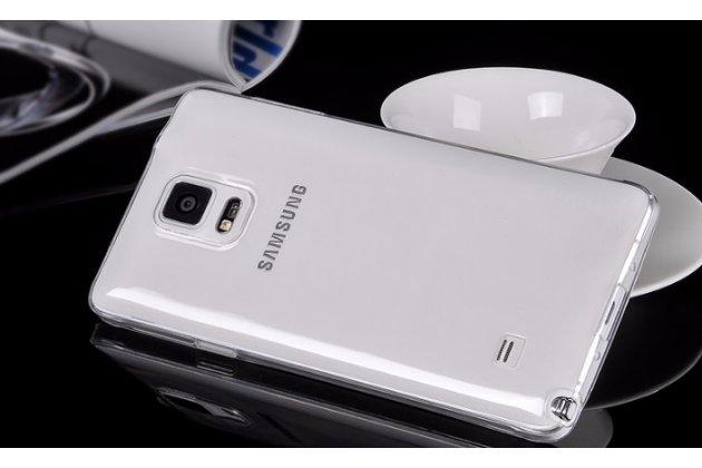 Фирменная ультра-тонкая полимерная из мягкого качественного силикона задняя панель-чехол-накладка для Samsung Galaxy Note 4 прозрачная