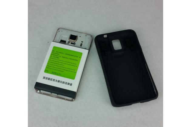 Усиленная батарея-аккумулятор большой повышенной ёмкости 9600mah для телефона Samsung Galaxy Note 4 SM-N910C/F + задняя крышка черная+ гарантия