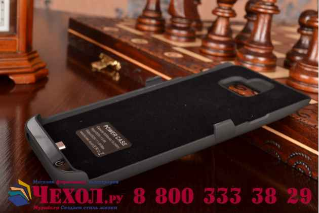 Чехол со встроенной усиленной мощной батарей-аккумулятором большой повышенной расширенной ёмкости 5200 mAh для Samsung Galaxy Note 5 N920 черный пластиковый + гарантия