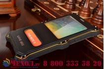 Противоударный усиленный неубиваемый бампер на металлической основе для Samsung Galaxy Note 5 N920 с кожаной накладкой с окошком для входящих вызовов и свайпом  черного цвета