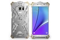 Противоударный металлический чехол-бампер из цельного куска металла с усиленной защитой углов и необычным экстремальным дизайном  для Samsung Galaxy Note 5 серебряного цвета