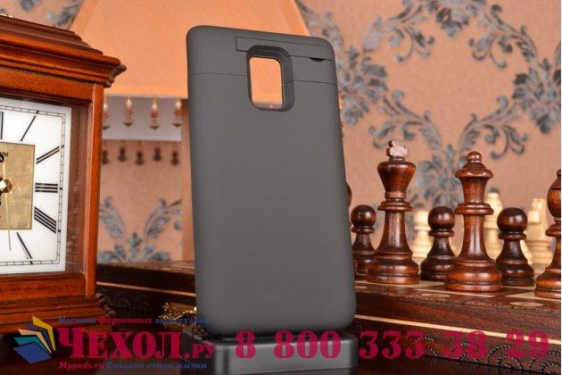 Чехол-бампер со встроенной усиленной мощной батарей-аккумулятором большой повышенной расширенной ёмкости 4600mAh для Samsung Galaxy Note Edge SM-N915F черный + гарантия
