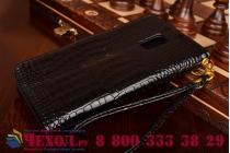 Фирменный чехол-книжка с мульти-подставкой и визитницей для Samsung Galaxy Note Edge лаковая кожа крокодила брутальный черный
