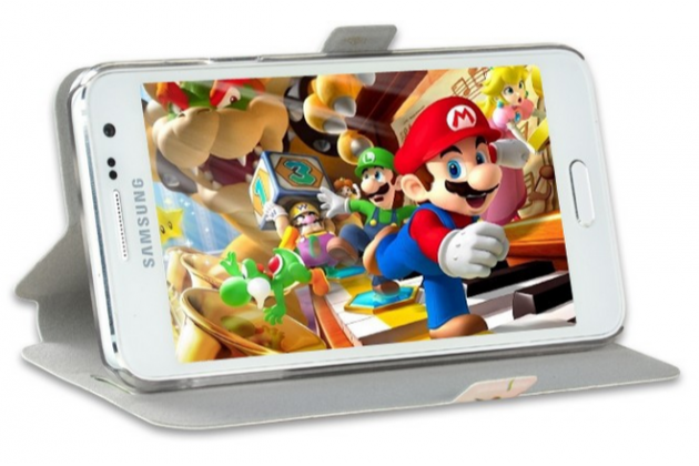 """Фирменный уникальный необычный чехол-книжка для Samsung Galaxy  On5 G550 5.0"""" """"тематика Эклектические Узоры"""""""