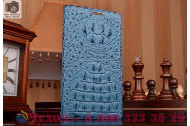 Фирменный роскошный эксклюзивный чехол с объёмным 3D изображением рельефа кожи крокодила синий для  Samsung Galaxy On5 . Только в нашем магазине. Количество ограничено