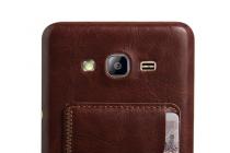 """Фирменная роскошная элитная премиальная задняя панель-крышка для Samsung Galaxy On7 O7 G600/G6000 5.5"""" из качественной кожи буйвола с визитницей коричневая"""