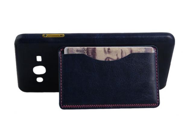 """Фирменная роскошная элитная премиальная задняя панель-крышка для Samsung Galaxy On7 O7 G600/G6000 5.5"""" из качественной кожи буйвола с визитницей синяя"""
