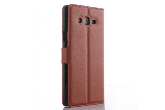 """Фирменный чехол-книжка из качественной импортной кожи с подставкой застёжкой и визитницей для Самсунг Галакси Он7 О7 Г600/Джи6000 5,5"""" коричневый"""