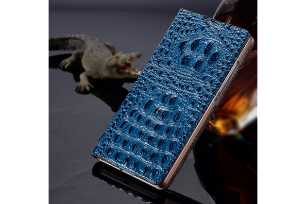Фирменный роскошный эксклюзивный чехол с объёмным 3D изображением рельефа кожи крокодила синий для  Samsung Galaxy On7 . Только в нашем магазине. Количество ограничено