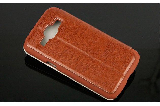 Чехол-футляр-подставка для Samsung Galaxy Premier GT-i9260 коричневый с застежкой кожаный