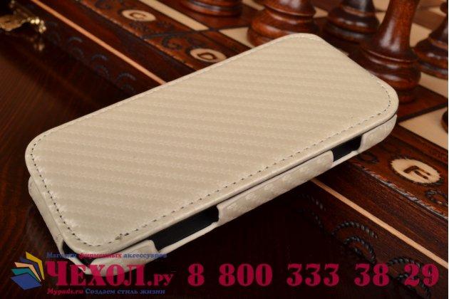 Фирменный вертикальный откидной чехол-флип для Samsung Galaxy S Duos GT-S7562 белый кожаный