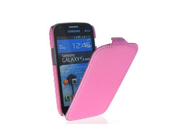 Фирменный вертикальный откидной чехол-флип для Samsung Galaxy S Duos GT-S7562 розовый кожаный