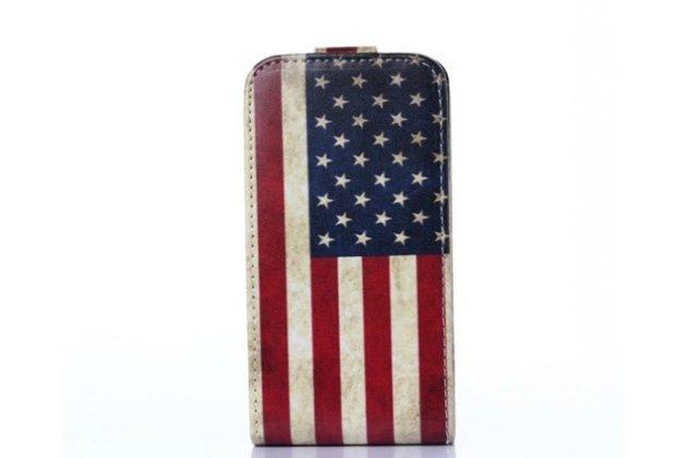 """Фирменный вертикальный откидной чехол-флип для Samsung Galaxy S Duos GT-S7562 тематика """"флаг США"""""""