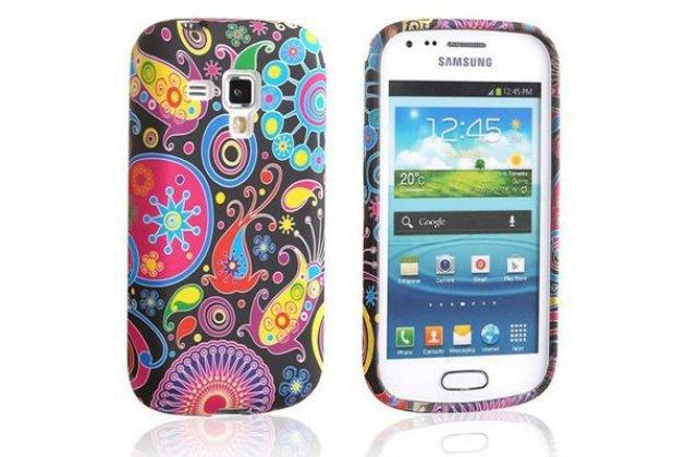 """Фирменная ультра-тонкая полимерная из мягкого качественного силикона задняя панель-чехол-накладка для Samsung Galaxy S Duos GT-S7562 тематика """"Узоры в галактике"""""""