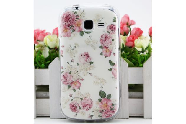 """Фирменная ультра-тонкая полимерная из мягкого качественного силикона задняя панель-чехол-накладка для Samsung Galaxy S Duos GT-S7562 тематика """"Розы"""""""