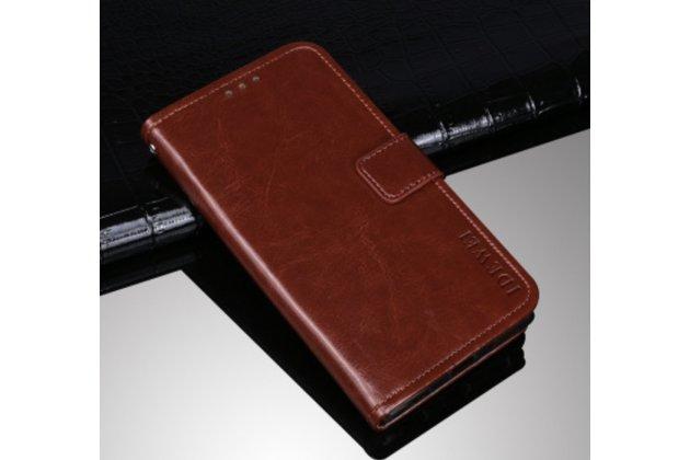 Фирменный чехол-книжка с мульти-подставкой и визитницей для Samsung Galaxy S2 / S2 Plus GT-i9100/i9105 коричневая