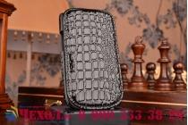 Фирменный вертикальный откидной чехол-флип для Samsung Galaxy S3 Mini GT-i8190 кожа крокодила черный