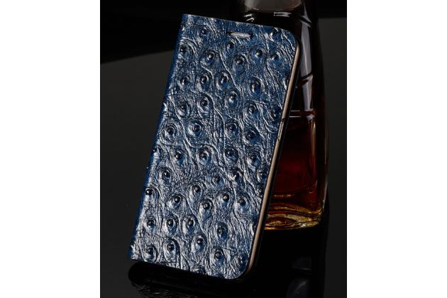 Фирменный роскошный эксклюзивный чехол с объёмным  рельефом кожи страуса синий для Samsung Galaxy S3 GT-I9300/Duos GT-I9300I . Только в нашем магазине. Количество ограничено