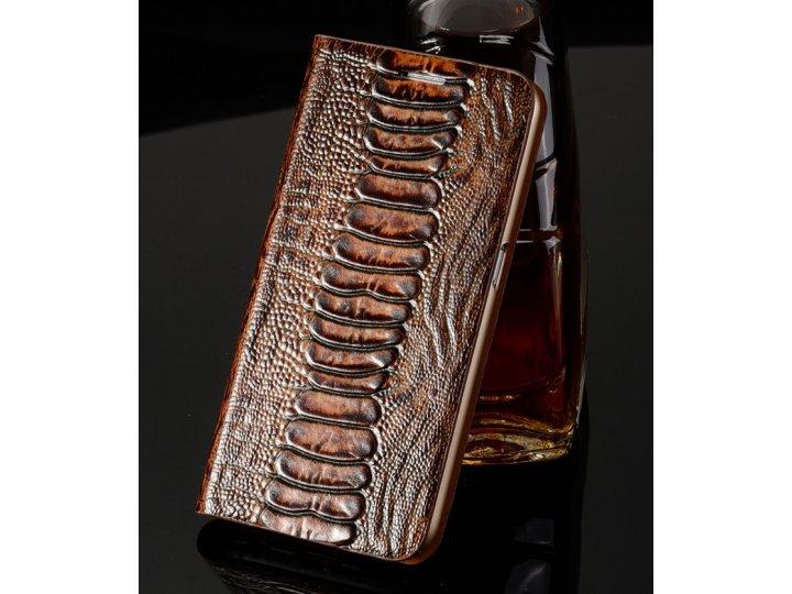 Фирменная неповторимая экзотическая чехол-книжка из кожи крокодила с фактурным тиснением для Samsung Galaxy S3..